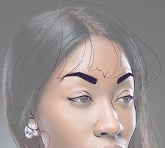 Drawing hair - vectoring face