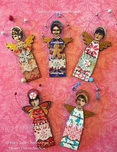 By Mary Jane Chadbourne using Primitive Angel Art Doll Cut Outs and more from Retro Café Art Gallery. www.RetroCafeArt.com: