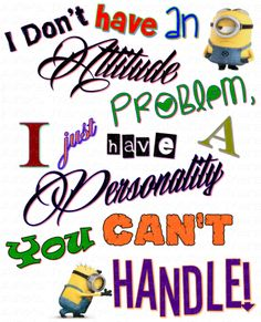 Despicable Me - Minions Attitude Personality Funny Quote Iron On Heat Transfer 7 x Crafts :: Home Arts & Crafts :: Other Home Arts & Craf. Cute Minions, My Minion, Funny Minion, Quotes To Live By, Me Quotes, Funny Quotes, Quotes Images, Qoutes, Minions Quotes