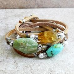 Sterling Wire Wrapped Leather Cord Bracelet with Faceted