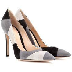 Gianvito Rossi Suede Pumps ($661) ❤ liked on Polyvore featuring shoes, pumps, grey, suede leather shoes, patchwork shoes, gianvito rossi, suede pumps and gray suede shoes