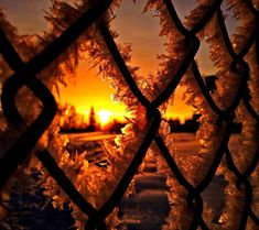 Hoar frost crystals on a chain link fence Winter Wallpaper, Sunset Wallpaper, Full Hd Wallpaper, Winter Photography, Image Photography, Nature Photography, Foto Gif, Nature Hd, Winter Sunset