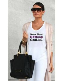 Christian T-shirt with bible verse: Worry About Nothing God Is In Control. 3 designs: Scoop Neck Tee, Fitted Tee, Tank Top. Colors: White, Silver, Grey,Heather Blue. Triblend. Made to withstand multiple washings without fading. Soft, comfy and light. A mu