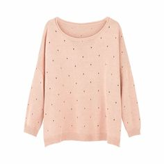 Cropped Pointelle Sweater Blush Pink   Ille De Cocos   Wolf & Badger