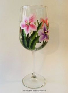 Hand Painted Spring Blossoms Wine Glass 18.5 by LemonTreeWorkshop