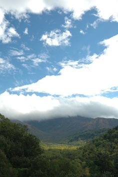 Fluffy white clouds over the Smoky Mountains.