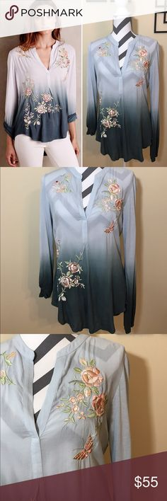 """❄️TINY Of Anthro Garden Peasant Top in Blue New Without Tags, Never worn, only flaw is sewn tag has been cut Sample Ombre Garden Peasant Top in Blue by TINY of Anthropologie  Retails for $98 Size: S, 26"""" long in front, 30"""" long in back,  20"""" across bust, 26"""" long sleeves laying down flat Material: Rayon Blend (no sewn in tag) Description: Sold out online, This is a sample of the top, Pullover, high-low styling, beautiful embroidery, unique red embroidered flower on the top right shoulder…"""