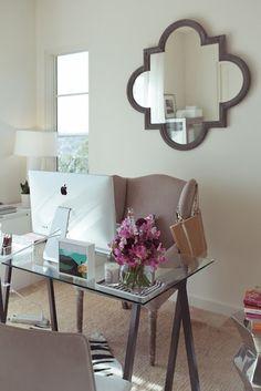 Office desk, chair, mirror