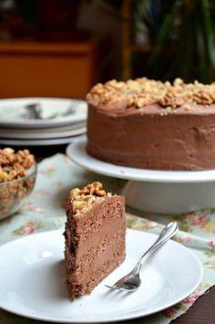 Csokoládés-diós-rumos torta