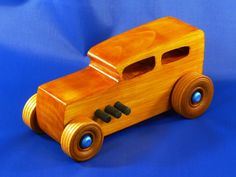 Handmade Wood Toy Hot Rod Car Classic 1932 Ford Hot Rod '32 Sedan Street Rod Roadster Muscle Car by OdinsToyFactory on Etsy