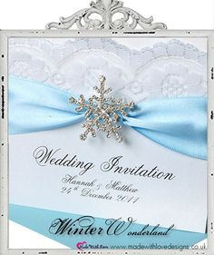Winter Snowflake & Lace Wedding Invitation £5.95 shown in ice blue. Perfect for a winter wonderland wedding theme