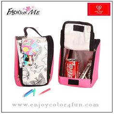 diy lunch bag Brand: Fashion Me  Item No: FMBA17  Material: 600D & high quality satin   Size: 16*20*12cm, Any size under customer's requirements  Design: we have more than 20 design about the coloring bags by us, such as flower, animal, princess,OEM is welcome  Logo: silk screen print  Color: purple, blue, yellow, green, pink and other colors under your requirements  Accessories: 4-8pcs color markers, the color is unwashable  MOQ: 1000pcs