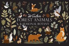Winter Forest Animals & Botany by Ruslana Vasiukova on @creativemarket