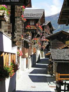 Grimentz (Canton du Valais) Take a walk for the whole day in the mountains, and you will meet very old and beatiful villages like that one.