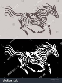 Horse tribal vector. Running horse with floral ornament decoration, for tattoo or any design you want. Easy to change color