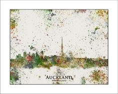 AUCKLAND Skyline NEW ZEALAND Auckland City by WaterColorMaps, $20.00