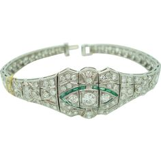 Platinum Diamond Bracelet with Synthetic Emeralds