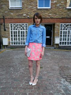 Topshop Neon Floral Skirt, Topshop Denim Shirt, Kurt Geiger Clutch, Kurt Geiger Pumps