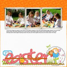 Easter 2015; kits: Designer Digitals/Katie Pertiet/ Photo Clusters No 49, Enchanted Easter Kit/ elastic wrap, pp, epoxies, Bunny Slope Rosy alpha, Be Hoppy Kit/ epoxies, bunny trail foam bunny, word art, little shores ric rac, Little Layette flower epoxy, Collageable Notions No 1 tape, Hey Missy Tape Green, Bold and Scripted No 7 ink splat, Gator Crossing Kit /stitching and snake, Drawn Labels No 1 **coming soon** Designer Digitals/ Maplebrook Studio/ Miranda brush