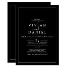 Minimalist | Black All In One Wedding Invite. Click to customize with your personalized details today. Fall Wedding Invitations, Beautiful Wedding Invitations, Custom Invitations, Invitation Design, Invite, Colored Envelopes, White Envelopes, Stationery Paper, Autumn Wedding