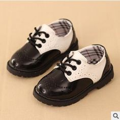 Fashion Trend Male Child Leather Shoes Black And White Girls Loafers 0014fff1c052