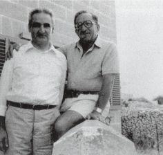 Karmenu Mifsud Bonnici with Dom Mintoff at the Gharix in Delimara, Marsaxlokk, Malta Malta History, Malta Gozo, We Rock, Politicians, Maltese, Couple Photos, Vintage, Couple Shots, Couple Photography