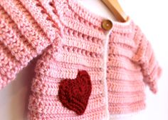 Crochet Baby Sweater Cardigan, Pink & White with Red Heart,  Size 0-4 Months in by TheLilliePad