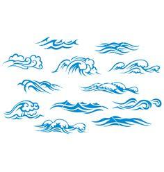 Ocean and sea waves set vector