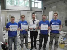 British Gypsum apprentices during a #SkillBuild event at Stockport College show that they are #BuildingBritain