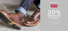 It's time for new shoes! 20% #discount on #levis #shoes and #accessories  Code: SHA20 Discount does not apply to the products on sale. Code valid until 30.09.2015