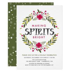 Making Spirits Bright Holiday Party Invitation - Xmascards ChristmasEve Christmas Eve Christmas merry xmas family holy kids gifts holidays Santa cards