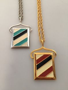 TWO 2 1970s Vintage ENAMELED Pendant by thepopularjewelry on Etsy