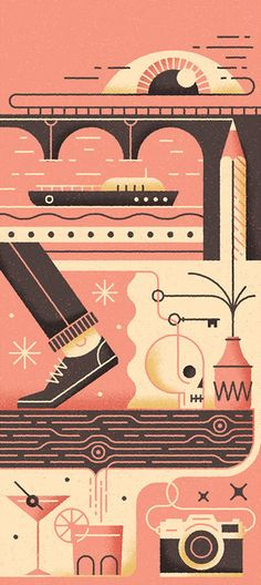 Folio illustration agency, London, UK | Muti - Advertising ∙ Editorial ∙ Graphic ∙ Typography ∙ Vector ∙ Character ∙ Lettering ∙ Vintage ∙ Retro ∙ Iconography ∙ Painterly ∙ Texture ∙ Airbrush ∙ Travel ∙ Poster - Illustrator