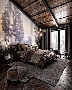 For those looking to make their bedroom look good, adopting a modern bedroom design style isn't actually a bad idea. Here are some easy ways you can redo your bedroom Design bedroom Easy Ways To Remodel A Modern Bedroom + 50 HD Pictures - House Topics Dream Rooms, Dream Bedroom, Nature Bedroom, Nature Inspired Bedroom, Loft Style Bedroom, Pretty Bedroom, Modern Bedroom Design, Bedroom Designs, Modern Bedrooms