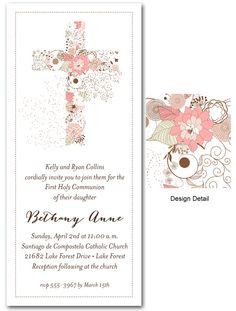 First Communion Invitations: Pink Cross of Flowers Invitations