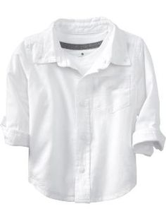 Oxford cloth shirt, $14.94 from Old Navy. In white and blue. Pair with chinos, a seersucker tie, a straw fedora, and bare feet. Because I'm not making a one-year-old wear a three-piece suit to an outdoor wedding in the summer in Florida.
