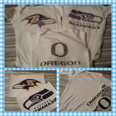 DIY baby Football team logo Onsies!! Easy to do! In our house, its Ravens, Seahawks and the Oregon Ducks!