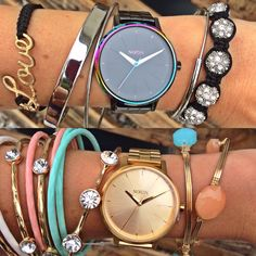 """It's almost time for the weekend! Celebrate with these 2 brand new """"kensington"""" watches for $175 in gunmetal/multi & all gold - in store at #4thandocean & online, """"bracelets' ($6.99-$14.99) in store at #statements and online at www.sophieandtrey.com! #freeshipping #watch #newarrival #freeshipping"""
