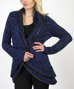 Take a look at this Blue Faux Leather Trim Open Cardigan by Sioni on #zulily today!