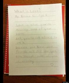 Cute Kid Note Of The Day: The love of friends is... (photo)