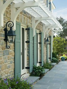 Traditional Exterior Photos Design, Pictures, Remodel, Decor And Ideas    Page 2 Nice Arbor And Stone On Ground. Interesting Choice Of Color For  Shutters.