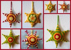 I think these would make great xmas decorations. Free pattern Ravelry: Hexagons are my Stars (Tutorial) pattern by Daniela Herbertz