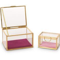 Buy the Gold & Glass Pink Velvet Trinket Boxes Set of Two at Oliver Bonas. Enjoy free UK standard delivery for orders over