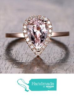 Pear Morganite Engagement Ring Pave Diamond Halo 14K Rose Gold 6x9mm from the Lord of Gem Rings https://www.amazon.com/dp/B01H0FPDDG/ref=hnd_sw_r_pi_dp_TdVxxbYQA33A6 #handmadeatamazon