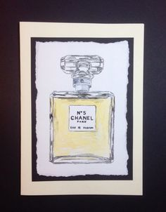 Watercolour painting of a bottle of Chanel No 5 mounted on a greetings card £3.50 from www.dianew.co.uk