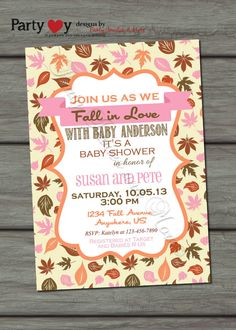 Fall Baby Shower Invitation, Fall Leaves, Fall Colors, Digital File, Autumn, Autumn Shower, DIY, Printable