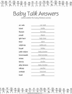 Best Baby Shower Game With The Answers The Sheet With Only