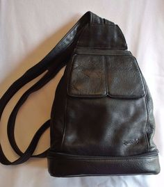 TIGNANELLO Black Leather Backpack Women's Handbag Purse w/ Mirror #Tignanello #BackpackStyle