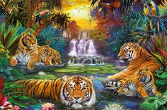Looking for a challenge? Tigers At The Waterhole Jigsaw Puzzle is a beautiful 3000 piece jigsaw puzzle from Ravensburger.