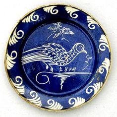 Saxon plate from Transylvania, Kingdom of Hungary. Ethnographic Museum of Transylvania, Kolozsvár (Klausenburg, Cluj-Napoca). Sibiu Romania, Old Pottery, Ceramic Pots, Earthenware, Folk Art, Tea Pots, Decorative Plates, Sculptures, Porcelain